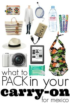 What to pack in your carry on for Mexico; make sure you are packing your carry on with your destination in mind. Get carry on packing tips for Mexico. Cancun Vacation, Vacation Packing, Mexico Vacation, Cancun Mexico, Mexico Travel, Vacation Outfits, Dream Vacations, April Vacation, Vacation List