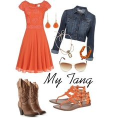 love this outfit for a session in the country...    Simply Orange, created by hayleejade3