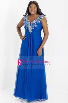 2014 Floor Length Beaded&Ruffled Prom Dress V Neck Off The Shoulder A Line Chiffon USD 179.99 NPSP5RR2AP1 - NewPromShop.com