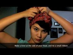 Great head-wrap idea. Good way to protect hair from the heat of summer and keep those browns brown.