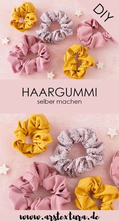 Sew scrunchie out of scraps of fabric - Haargummi Scrunchie aus Stoffresten nähen Sewing instructions: Make a hair tie yourself – sew scrunchie from fabric scraps # fabric scraps Sewing To Sell, Sewing For Kids, Free Sewing, Hand Sewing, Scrunchies, Knitting Projects, Sewing Projects, Sewing Tips, Sewing Hacks