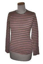 MARIMEKKO women's brown striped top S/UK10 tee shirt breton fitted cotton