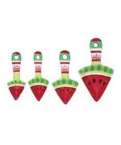 Take a look at this Boston Warehouse Picnic Party Watermelon Measuring Spoon Set by Boston Warehouse on today! Watermelon Images, Watermelon Ideas, Picnic Theme, Cute Kitchen, Designer Kids Clothes, Kitchen Themes, Measuring Spoons, Household Items, Summertime