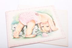 Vintage Extra Large Unused Get Well Soon Greeting Card - Baby Doing Hand Stands with White Fluffy Kittens by ThePinkRoom