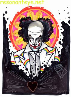 binky the clown hates you, portrait drawing, ink and wash #clowning #evil #horror