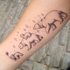 Baby Bear Tattoo, Cubs Tattoo, Bear Tattoos, Mom Tattoos, Body Art Tattoos, Sleeve Tattoos, Tatoos, Tattoo For Son, Tattoos For Kids
