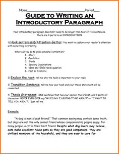 Intro paragraphs for essays