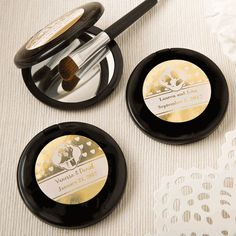 A compact mirror in a sophisticated black color with a stunning gold or silver metallic sticker will create a wow factor on your events tables that is sure to thrill your guests. Gold Wedding Theme, Wedding Party Favors, Personalized Wedding Favors, Personalized Labels, Mirrors For Sale, Compact Mirror, Bridal Shower Gifts, Plastic Case, The Ordinary