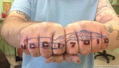Star Trek Enterprise knuckle tattoo (note saucer separation is possible)