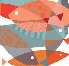 Mid century poster print  FISHY DISH