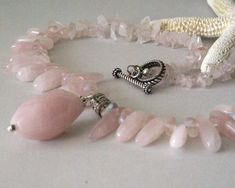 Pink Necklace Pale Pink Pendant Chunky Pink by BayMoonDesign