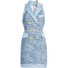 BALMAIN Denim-Trimmed Tweed Mini Dress ❤ liked on Polyvore featuring dresses, blue dress, balmain, tweed dress, short blue dress and short dresses