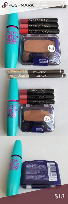 Covergirl Maybelline MARY KAY Palladio NEW LOT All items are BRAND NEW, AUTHENTIC, Never Used (some have no manufacturer's seal)  1. Maybelline Volum'Express Mega Plush Mascara VERY BLACK M301 (no packaging) 2. LOT of 3 MARY KAY Nourishine Plus® Lip Gloss Deluxe Mini 0.5 g each (TOTAL 1.5 g) SPARKLE BERRY, PINK LUSTER, ROCK 'N RED 3. Covergirl eye enhancers shadow 0.09 oz / 2.5 g FULL SIZE SWISS CHOCOLATE 730 4. Lot of 2 Palladio Eyeliner 0.04 oz / 1.2 g EACH EL193 DARK BROWN Mary Kay Makeup