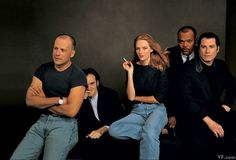 Bruce Willis, Quentin Tarantino, Uma Thurman, Samuel L. Jackson, and John Travolta in 1994, shortly after Pulp Fiction won the Palme d'Or at the Cannes Film Festival.