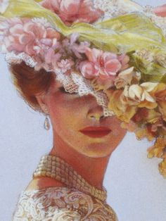 Victorian Lady flower hat art print ladies by HalstenbergStudio