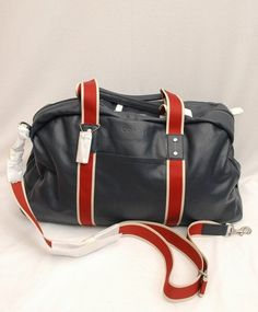 Nwt Coach Men Heritage Web Leather Duffle Travel Carryon F70561 Navy Red European