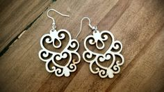 Unique handmade Laser cut wooden dangle earrings by fredandhannah