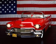1956 Cadillac Convertible Red 3/4 Front View Patriotic Studio #classiccars1956cadillac