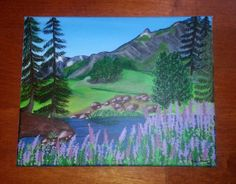 Spring Mountain Meadow Landscape Original Painting by ArtByEmaline, $75.00