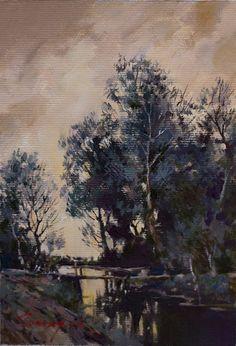 Landscape by Bogdan Goloyad 16x11 cm oil on by BogdanGoloyadArt