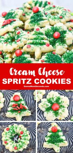 best christmas recipes *NEW* Cream Cheese spritz cookies are decadent little Christmas cookies with subtle cinnamon undertones and a soft creamy texture that begs to be gobbled up. Holiday Cookies, Holiday Desserts, Holiday Baking, Holiday Recipes, Best Christmas Recipes, Christmas Snacks, Christmas Cooking, Christmas Cakes, Christmas Appetizers