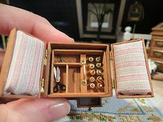 DOLLHOUSE MINIATURE ARTISAN MULTI COMPARTMENT SEWING BOX WITH SEWING ITEMS