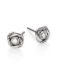 David Yurman - Diamond & Sterling Silver Button Earrings