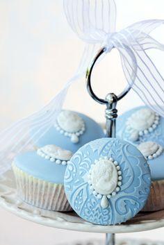 Baby Blue Cameo Wedding Cupcake