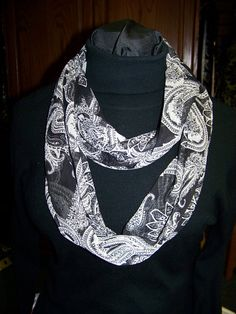 Ladies Infinity Scarf Black and White Paisley by civilwarlady