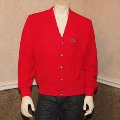 Vintage 70's IZOD LACOSTE Red Cardigan Sweater w/ Blue Gator Logo Mens L