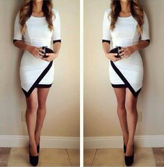 White Patchwork Irregular Elbow Sleeve Dress
