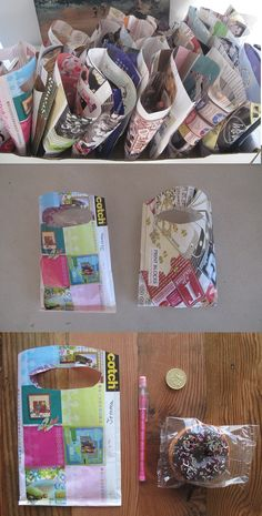 simpleintrigue:  Making kids party goodie bags from sewing up old sheets of magazines.