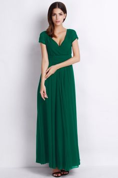 Elegant Surplice V Neckline Maxi Chiffon Dress OASAP.com