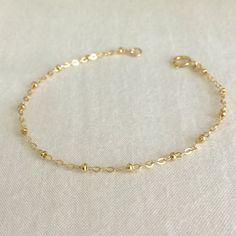 14K Gold Filled Satellite Bracelet Dew Drop by StampedSchmuck