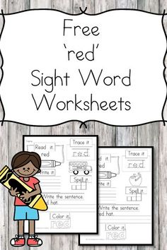 """""""Red"""" Sight Word Worksheet Here is a """"red sight word worksheet"""" download.You can have a larger sight word packet that contains all of the dolch sight words."""