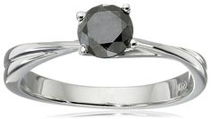 10k White Gold Black Diamond Solitaire Ring (1/2 cttw) >>> Want additional info? Click on the image.-It is an affiliate link to Amazon. #Rings