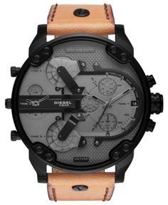 49e7e1586eda Diesel Men Chronograph Mr. Daddy 2.0 Brown Leather Strap Watch 57mm