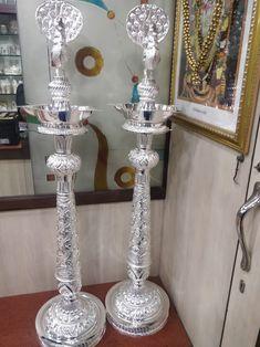 Silver Lamp, Silver Filigree, Silver Jewellery Indian, Silver Jewelry, Silver Pooja Items, Pooja Room Design, Puja Room, Gold Money, Bedroom Furniture Design