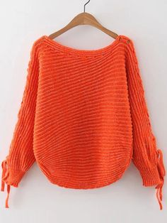 Shop Orange Ribbed Lace Up Sleeve Loose Sweater online. SheIn offers Orange Ribbed Lace Up Sleeve Loose Sweater & more to fit your fashionable needs.