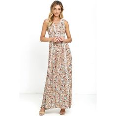 Sun Will Shine Beige Floral Print Maxi Dress ($34) ❤ liked on Polyvore featuring dresses, beige, open back maxi dress, sheer maxi skirt, white sheer maxi skirt, long white maxi skirt and maxi dresses