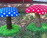 Mushroom toadstool chair bench. Toadstool stool for kids. Get log. Screw in circle of good playwood. Put batting or foam on top. Cover with fabric. Flip and staple in. I just made that up from looking at the pic. Im crafty and shit.