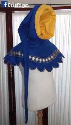Blue felt and Yellow cotton Liripipe medieval renaissance hood, costume for LaRP