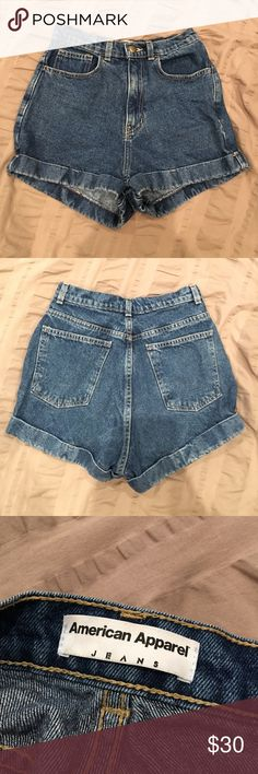 AA Denim Shorts High waisted shorts. Authentic I bought them from the MOA Store. I never wear them anymore 😞 will wash before I ship them. Will negotiate. Waist size 27 so maybe small or medium??? American Apparel Shorts Jean Shorts