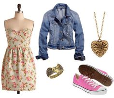 The outfit is girly and sweet, but the Chuck Taylors give it a surprising kick! Converse sneakers are classic shoes that look great with almost anything, so they're an easy way to work this challenge. Wear a pink pair with a floral dress and denim jacket, and top off the look with a gold locket and ring.
