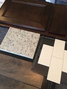 espresso cabinets, moonlight granite, white subway tile, antique maple dusk laminate flooring