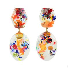 Moon and Lola xx Thimblepress - Confetti Post Drop Earrings