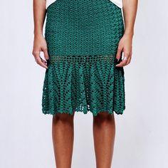 Saia Helena Verde Esmeralda, no ponto de crochê, com fio de viscose. Também nas…