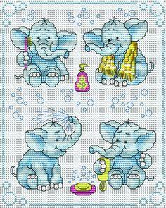 Bathtime for Elephants Cross Stitch Cross Stitch For Kids, Cross Stitch Baby, Cross Stitch Animals, Cross Stitch Charts, Cross Stitch Designs, Cross Stitch Patterns, Cross Stitching, Cross Stitch Embroidery, Embroidery Patterns