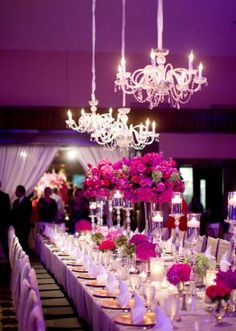 Gorgeous pink wedding with crystal chandeliers shot by Jess Barfield Photography.  #wedding #pink #chandeliers