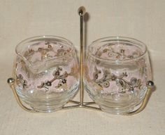 Pretty In Pink Cream & Sugar Set by Libbey with Caddy Duchess Pattern for Pyrex